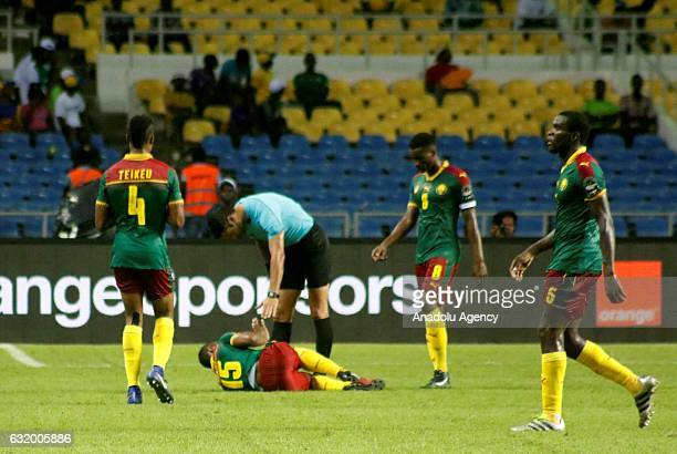Sébastien Siani of Cameroon injured during the 2017 Africa Cup of Nations group A football match between Cameroon and Guinea Bissau at the l'Amitié...