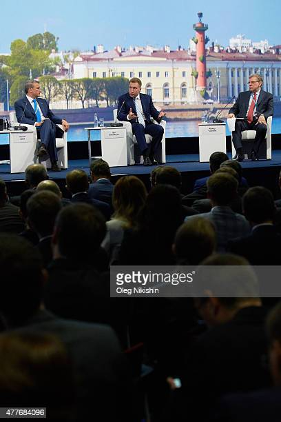 Sberbank head German Gref Russia's first deputy prime minister Igor Shuvalov and Former Russian Finance Minister Alexey Kudrin attend a session of...