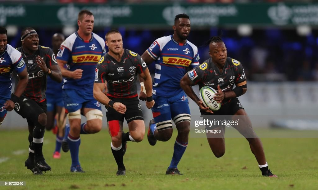 SÕbusiso Nkosi of the Cell C Sharks during the Super Rugby match between Cell C Sharks and DHL Stormers at Jonsson Kings Park on April 21, 2018 in Durban, South Africa.