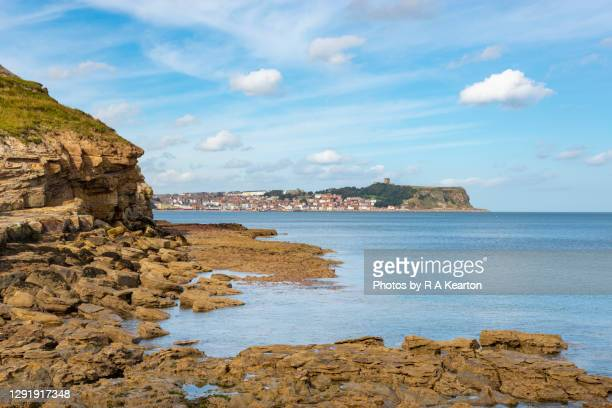 scaborough from cornelian bay, north yorkshire, england - scarborough uk stock pictures, royalty-free photos & images