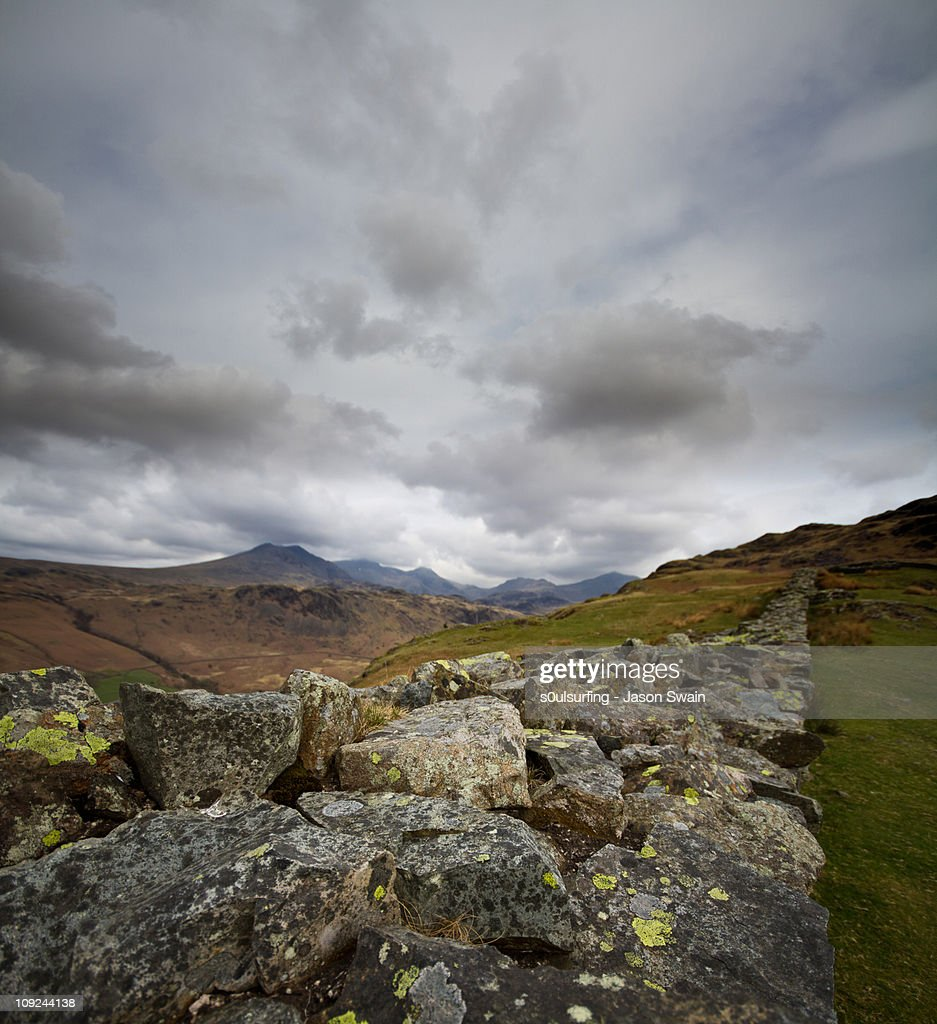 Scafell Pike from Hardknott Roman Fort : Stock Photo