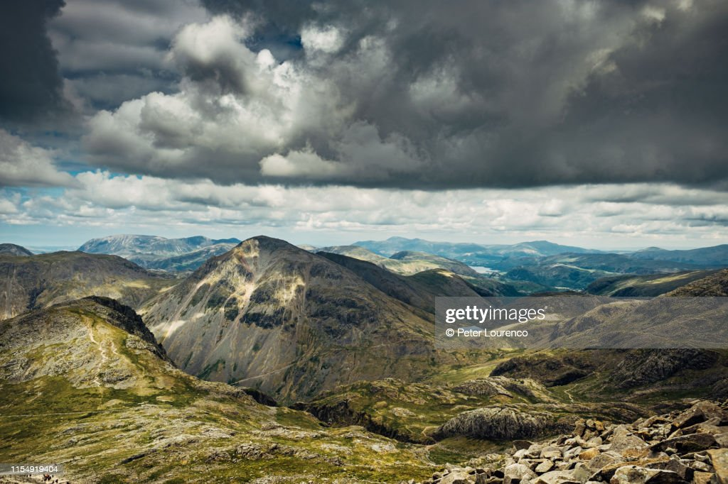 Scafell Pike summit view : Stock Photo