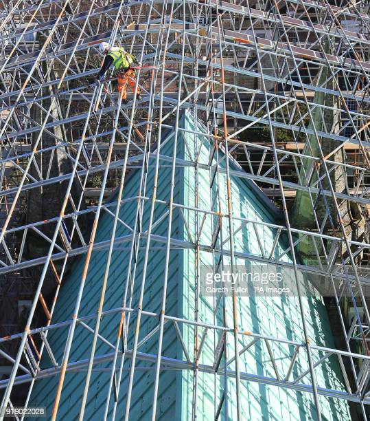 Scaffolders at work above the roof of Chichester Cathedral in West Sussex as the Cathedral launches its High Roof Restoration Appeal in a bid to...