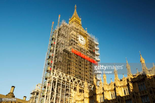 Scaffolding around Big Ben, Houses of Parliament, London, UK.