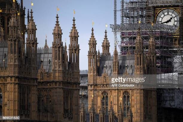Scaffolding around the Elizabeth Tower, commonly called Big Ben, is seen during ongoing renovations to the Tower and the Houses of Parliament, in...