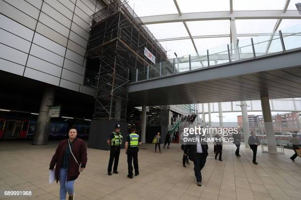Scaffolding covers the entrance to the Manchester Arena from the adjacent Manchester Victoria railway station on May 30 2017 in Manchester which was...