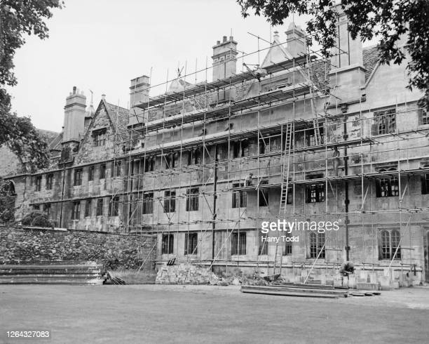Scaffolding covers the northfacing wall of Wadham College as restoration work continues on one of the oldest colleges at the University of Oxford...