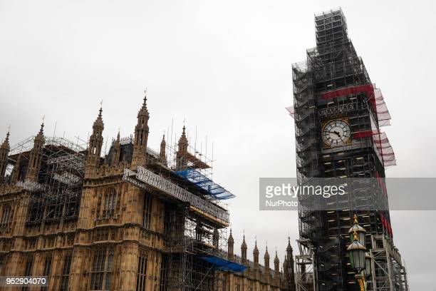 Scaffolding for renovation works continues to hide the Elizabeth Tower from view on an overcast afternoon in London UK on April 29 2018 The Tower a...