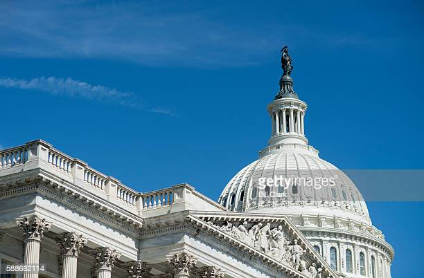 Scaffolding has been removed from the upper section of the US Capitol dome as the Architect of the Capitol works to complete the Capitol Dome...