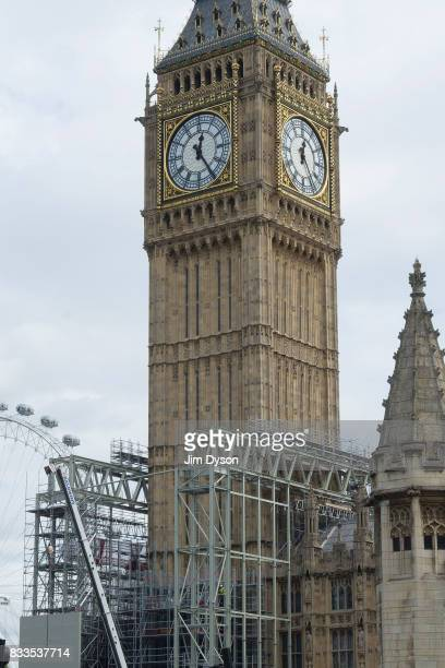 Scaffolding is gradually erected around the Elizabeth Tower better known as 'Big Ben' on August 15 2017 in London England As part of extensive...