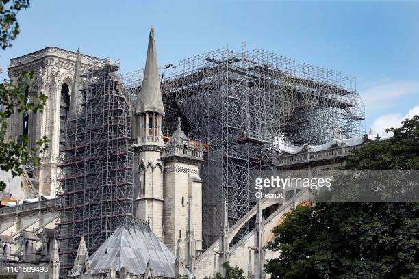 Scaffolding is installed on part of Notre-Dame de Paris almost three months after the massive fire that ravaged the world-famous monument on July 12,...
