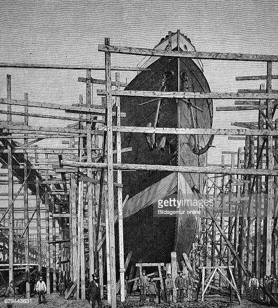 Scaffolding of the cassius an iron merchant vessel werft zu gaarden shipyard kiel wood engraving 1880
