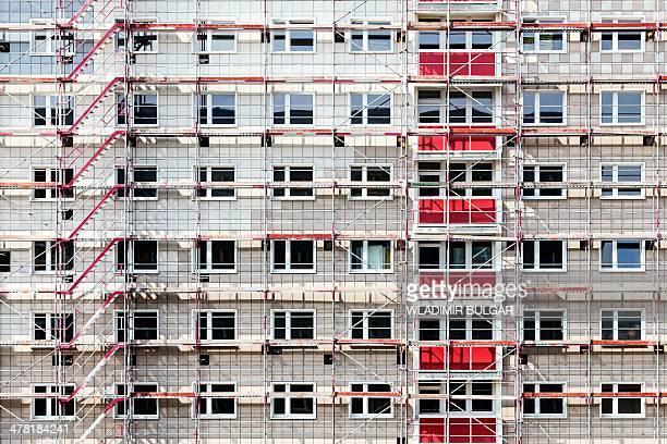 Scaffolding on a block of flats