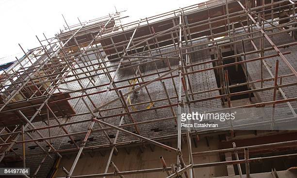 scaffolding on construction site - liverpool stock pictures, royalty-free photos & images
