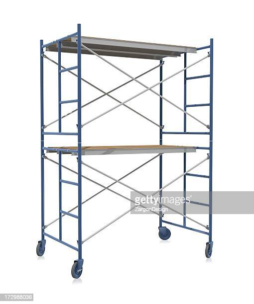 Scaffolding on wheels on a white background