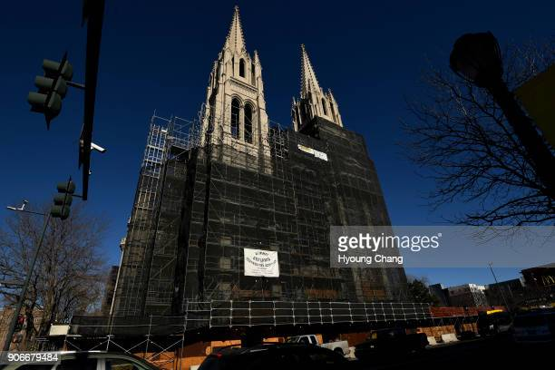 Scaffolding spans the exterior of the Cathedral Basilica of the Immaculate Conception in Denver Rev Ron Cattany said project to restore the Cathedral...