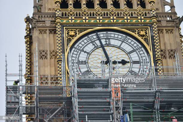 Scaffolding starts to cover over the clock faces on Big Ben and the Elizabeth Tower as the renovation work continues on October 10 2017 in London...