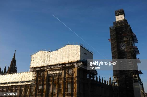 Scaffolding surrounds the Elizabeth Tower commonly known as Big Ben as renovation work continues at the Houses of Parliament in central London on...