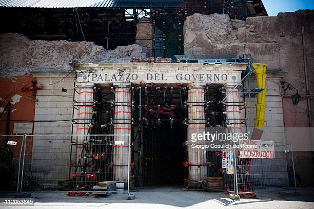 Scaffolding surrounds the regional Government Building in the center of L'Aquila, two years on from the April 6, 2009 earthquake that struck the...