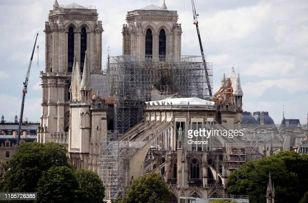 Scaffolding surrounds the roof of Notre-Dame de Paris on June 13, 2019 in Paris, France. On Saturday, June 15, 2019 Archbishop of Paris Mgr Aupetit...