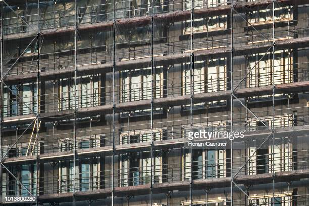 Scaffolds of house construction are pictured on August 08 2018 in Berlin Germany