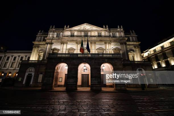 Scala Theater is deserted during Easter day due to the coronavirus lockdown aimed at curbing the spread of the COVID-19 infection, on April 12, 2020...