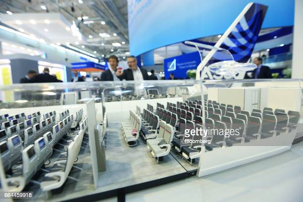 Scale model demonstrates the seat variations possible on an Airbus Group A380 aircraft at the 2017 Aircraft Interiors Expo in Hamburg, Germany, on...