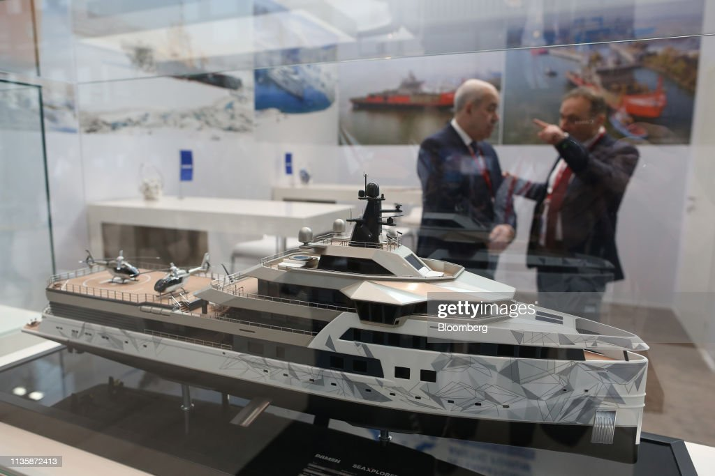 A scale model of a DAMEN SeaXplorer 75 expedition superyacht