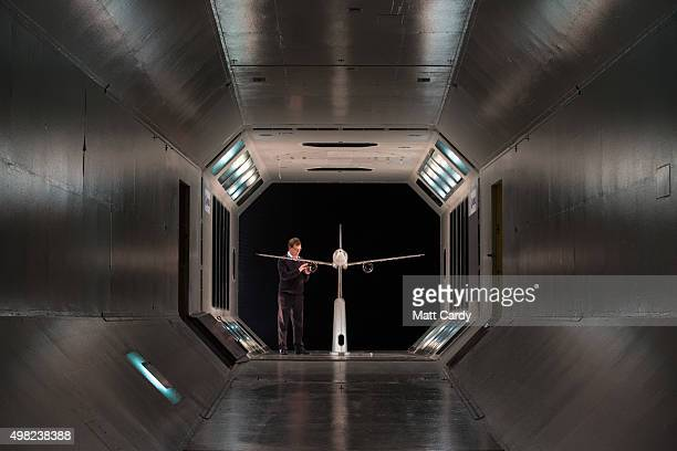 A scale model of a plane is prepared for testing in the Airbus Filton's low speed wind tunnel facility at the Airbus aircraft manufacturer's Filton...