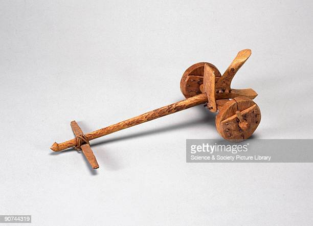 Scale model of a simple chariot with two solid wooden wheels The twowheeled chariot was invented by the Sumerians in Mesopotamia probably some time...