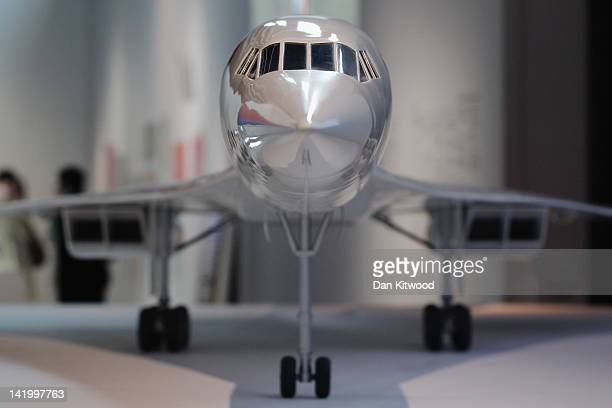 A scale model of Concorde stands on display at the Victoria and Albert museums' new major exhibition 'British Design 19482012 Innovation In The...