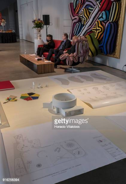 Scale model of Guggenheim Bilbao and blueprints of works seen during the press conference by Portuguese artist Joana Vasconcelos to announce...