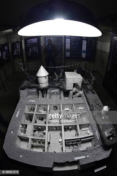 """Of the 1944-built """"Fuehrerbunker"""" is presented during a press preview of an exhibition at the """"Berlin Story Bunker"""" in Berlin's Mitte district on..."""