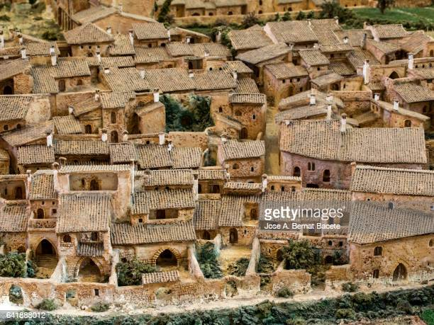 scale model of the medieval fortified  town - valencia spanien stock-fotos und bilder