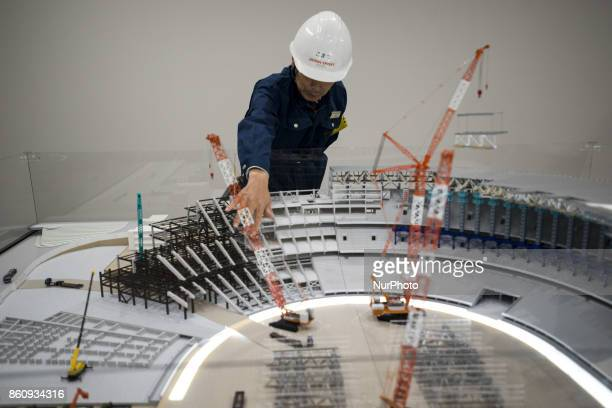 Scale model of the new national stadium for the 2020 Olympics during a press preview in Tokyo Oct 13 2017