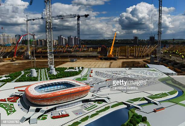 Scale model of the new stadium is presented on the construction site during a media tour of Russia 2018 FIFA World Cup venues on July 17, 2015 in...