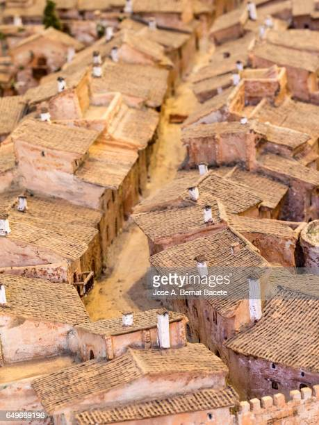 Scale model of the principal street of a  town medieval fortified