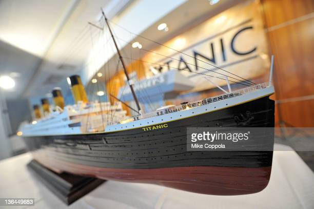 A scale model of the RMS Titanic on display at the Titanic Auction preview at the Intrepid SeaAirSpace Museum on January 5 2012 in New York City