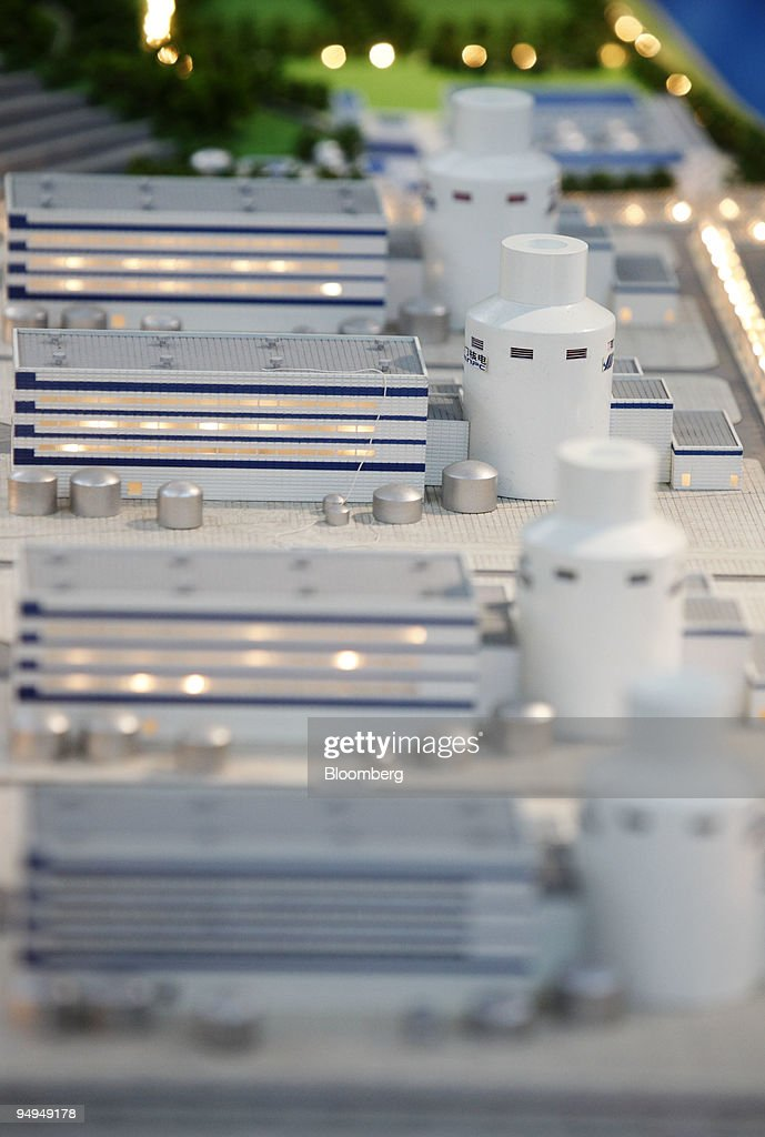 A scale model of the Sanmen Nuclear Power Co. plant is displayed in Sanmen, China, on Thursday, June 4, 2009. Sanmen Nuclear Power Co. a unit of China's biggest builder of atomic power plants, will seek technical support from Westinghouse Electric Co. for the construction of two reactors in the coastal province of Zhejiang.