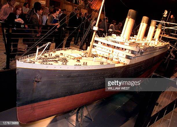 A scale model of the Titanic which was used in the filming of the movie Titanic sits as the main centrepoint of a Titanic display at the Fox Studio...