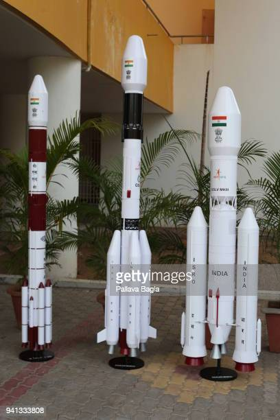 Scale models of Indian operational rockets displayed at Indian rocket port Sriharikota The rockets left to right are Polar Satellite Launch Vehicle...