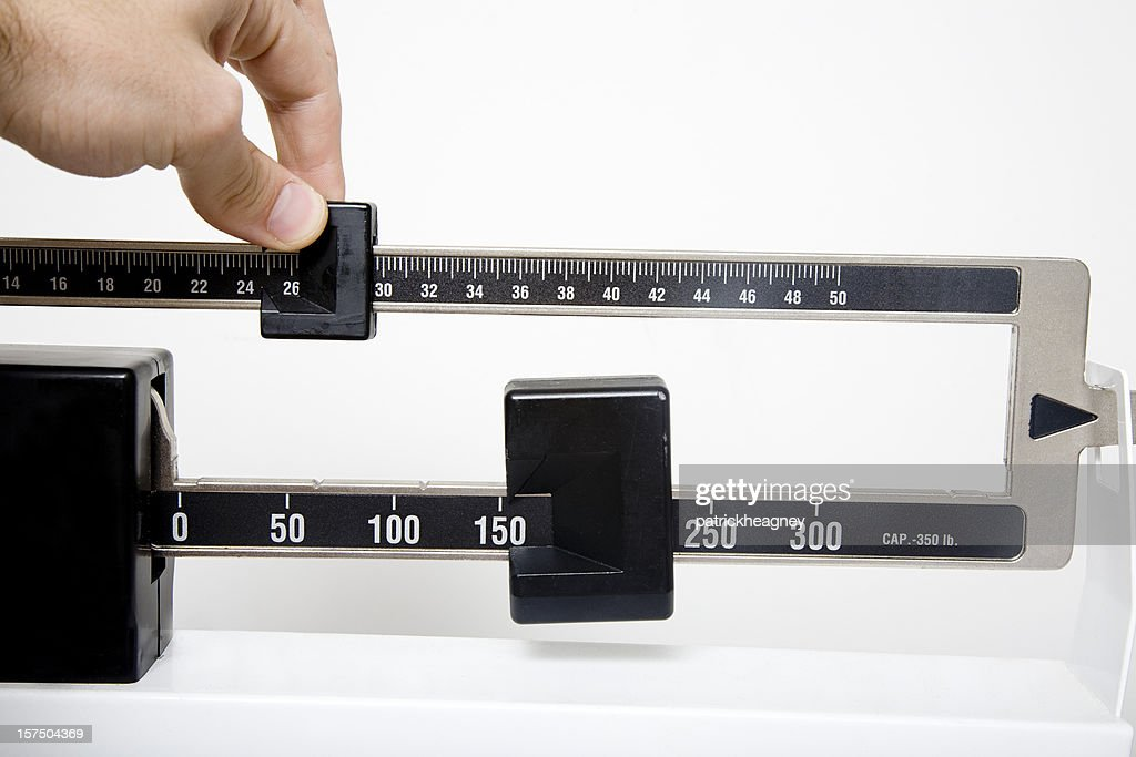 Scale to measure lengths with an adjustable slider : Stock Photo