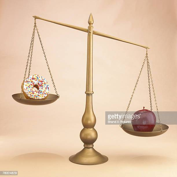 Scale with donut and apple