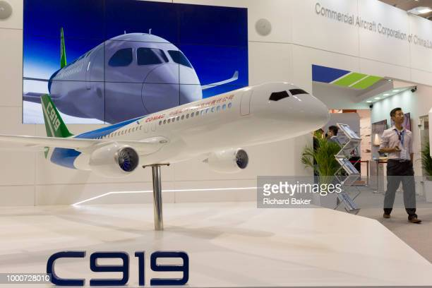 A scaled model by the Commercial Aircraft Corporation of China's C919 on the company's exhibition stand at the Farnborough Airshow on 16th July 2018...
