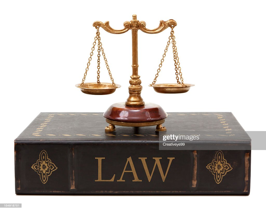 Scales of justice and law book : Stock Photo