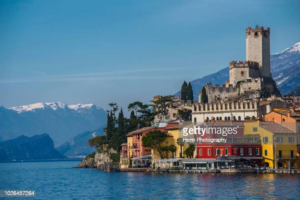 scaliger castle seen from lake garda, malcesine, verona, italy - veneto stock pictures, royalty-free photos & images