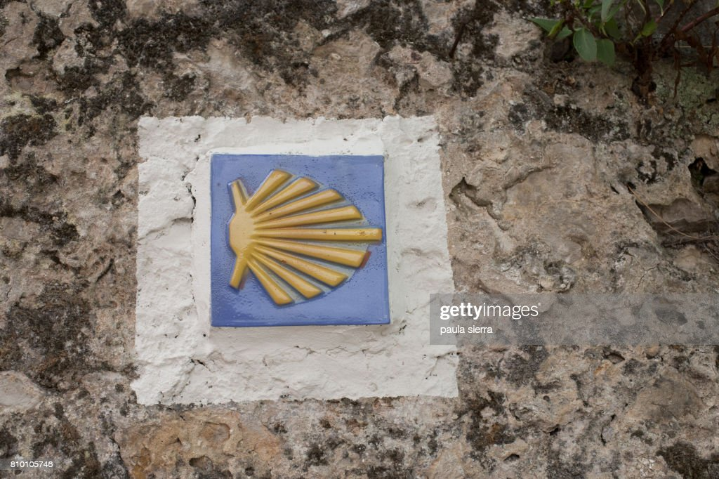 Scallop Shell Symbol Marking The Pilgrims Path To Santiago De