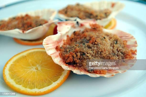Scallop shells stuffed