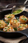 scallops poached garlic butter sauce with
