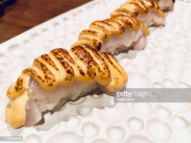Scallops with sea urchin nigiri